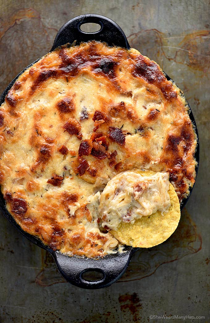 Baked Bacon Cheese Onion Dip Recipe | shewearsmanyhats.com