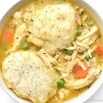 Easy Chicken and Dumplings Recipe | shewearsmanyhats.com