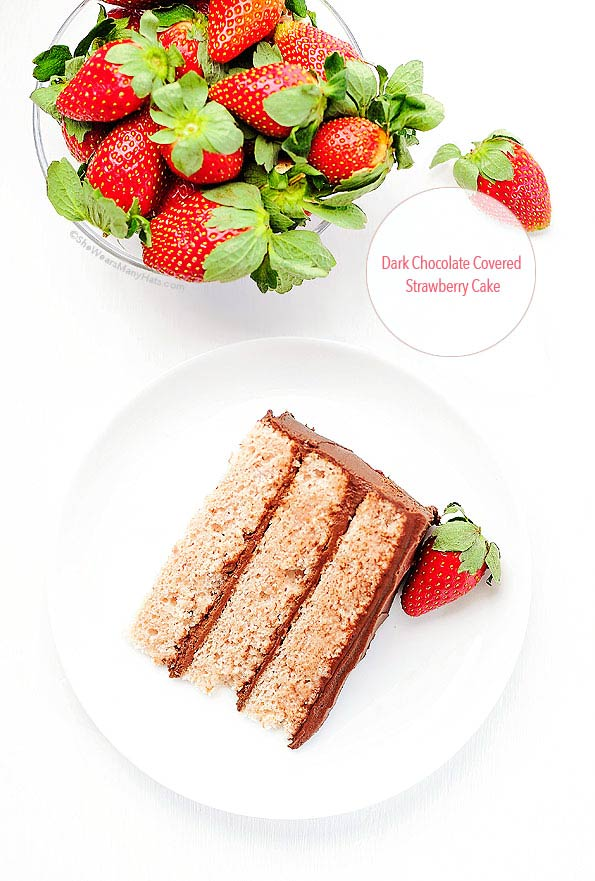Dark Chocolate Frosting with Strawberry Cake Recipe | shewearsmanyhats.com