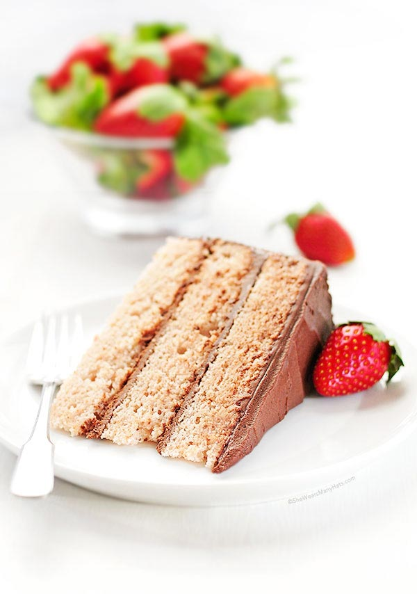 Strawberry Cake with Dark Chocolate Frosting Recipe | shewearsmanyhats.com