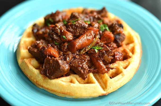 Beer Cornbread Waffles with beef stew
