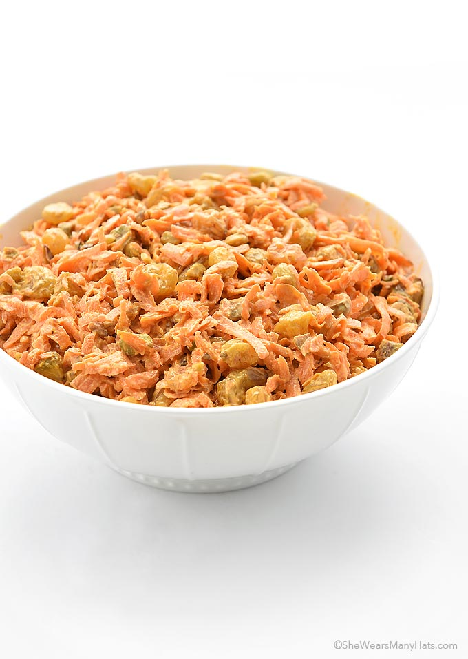 Spicy Ginger Carrot Salad Recipe with Raisins and Pistachios