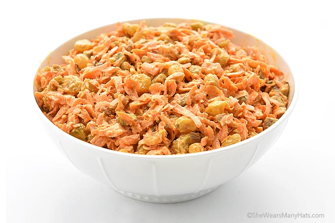Spicy Ginger Carrot Salad Recipe with Raisins and Pistachios | shewearsmanyhats.com