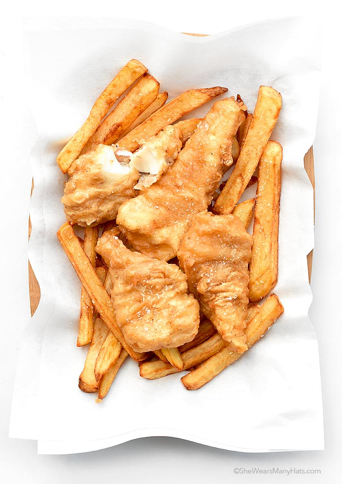 Beer batter fish and chips recipe she wears many hats for Beer battered fish and chips