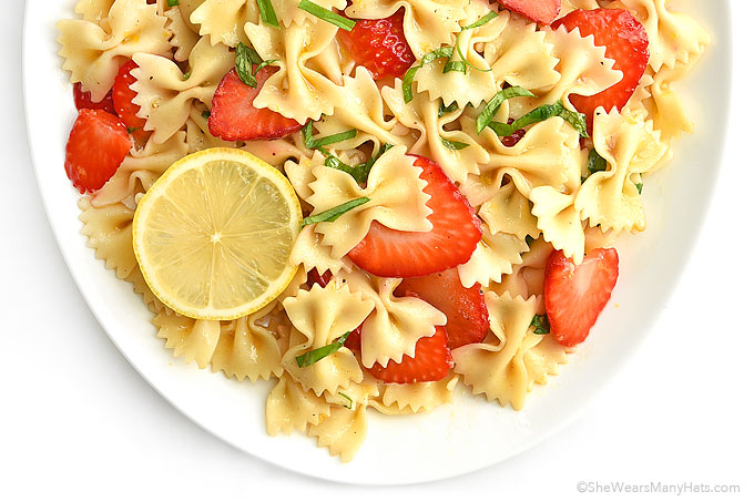 Strawberry Lemon Basil Pasta Salad Recipe