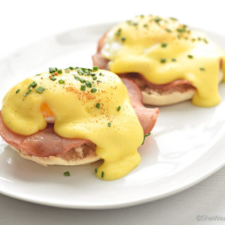 Eggs Benedict with Hollandaise Sauce | shewearsmanyhats.com