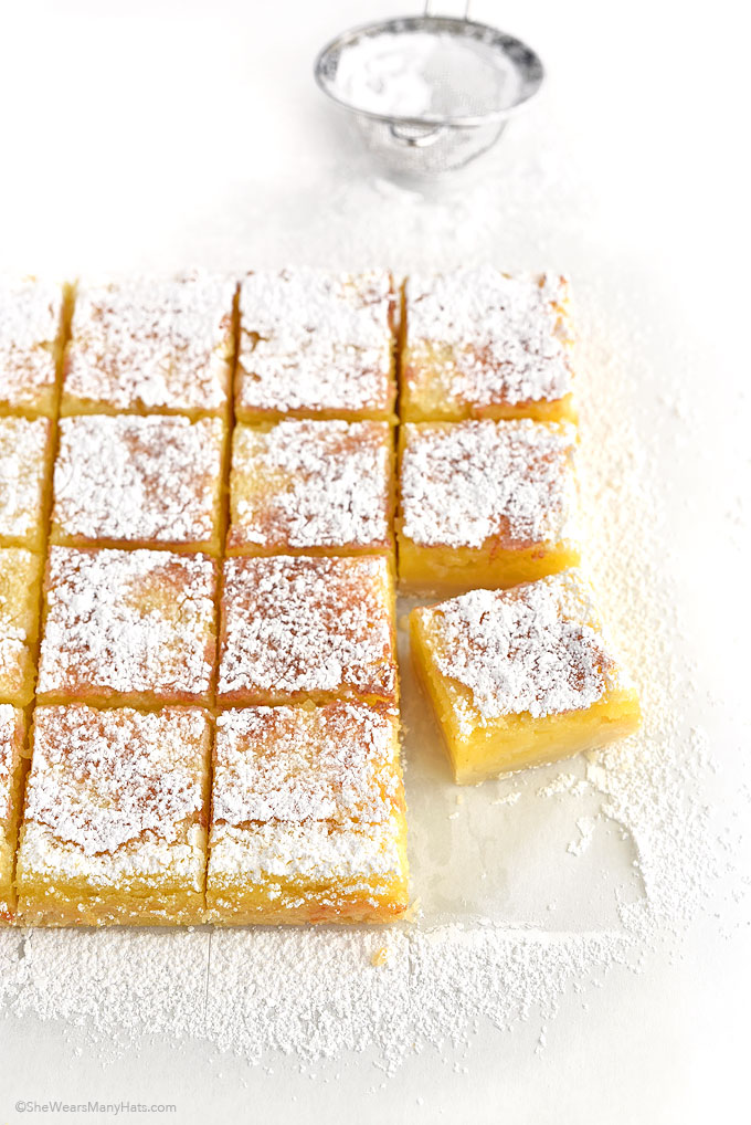 Lemon Bars Recipe shewearsmanyhats.com