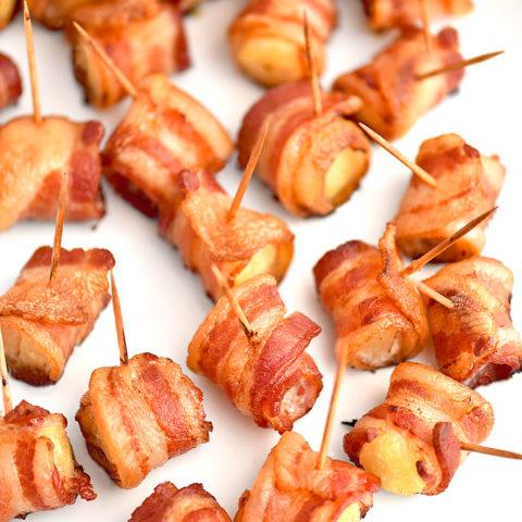 Bacon Wrapped Pineapple Bites Recipe shewearsmanyhats.com