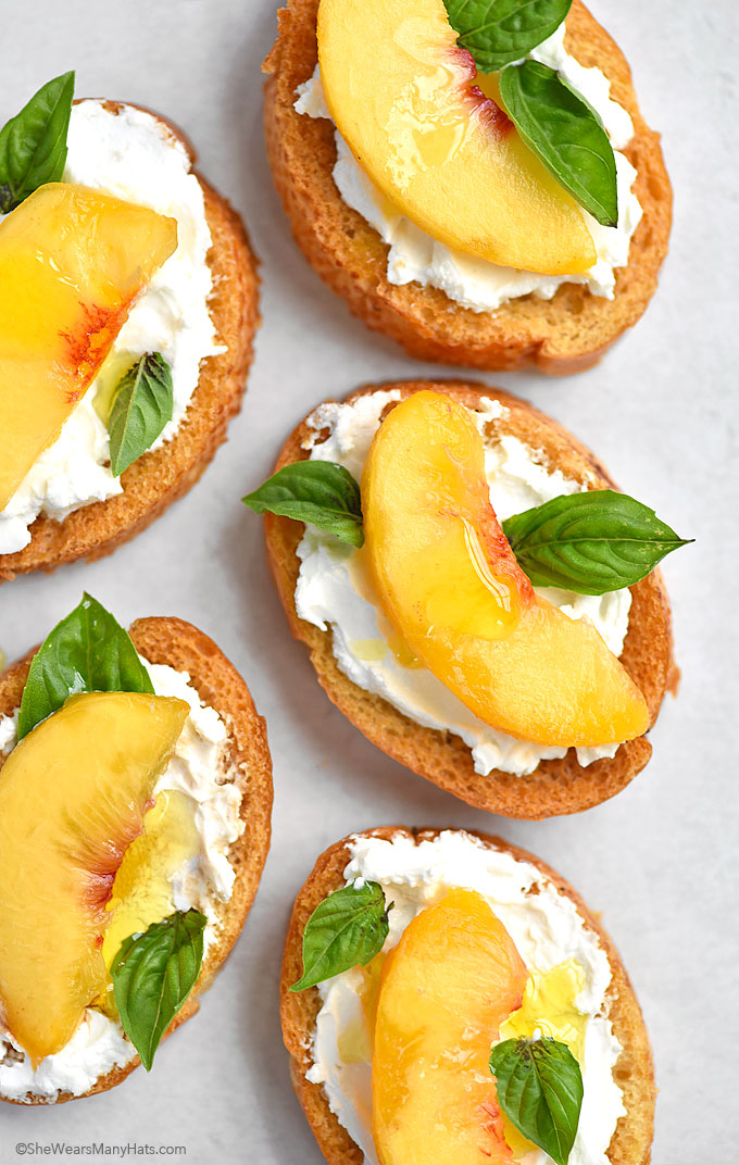 Peach and Goat Cheese Bruschetta Recipe shewearsmanyhats.com