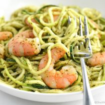 Shrimp and Pesto Zoodles Recipe shewearsmanyhats.com