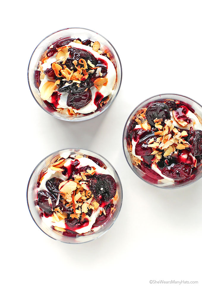 Easy Roasted Cherry Parfaits Recipe shewearsmanyhats.com