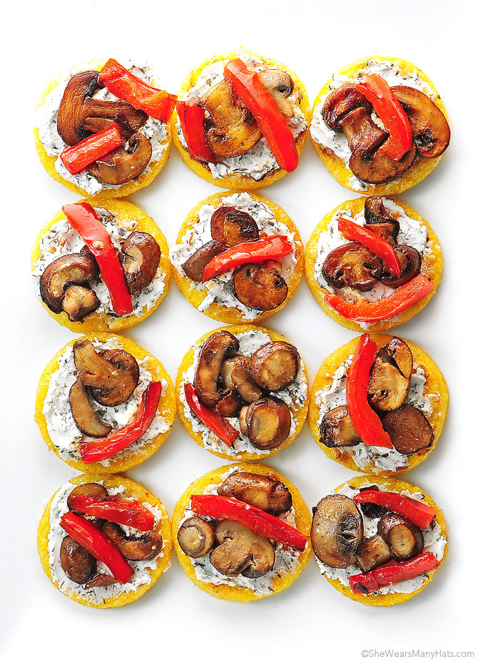 Polenta Pizzas with Goat Cheese Sauteed Mushroom and Peppers Recipe