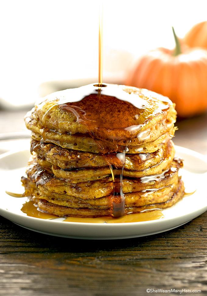 Pumpkin Pancakes Recipe shewearsmanyhats.com