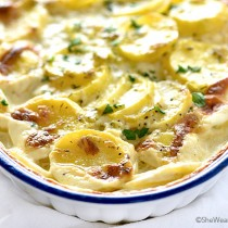 Perfect Scalloped Potatoes Recipe with Leeks Garlic and Thyme from shewearsmanyhats.com