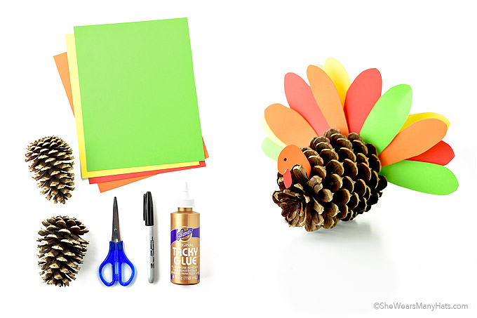 Thanksgiving Pine Cone Turkey Craft Ideas