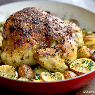 Roasted Garlic Lemon Chicken and Potatoes Recipe | shewearsmanyhats.com