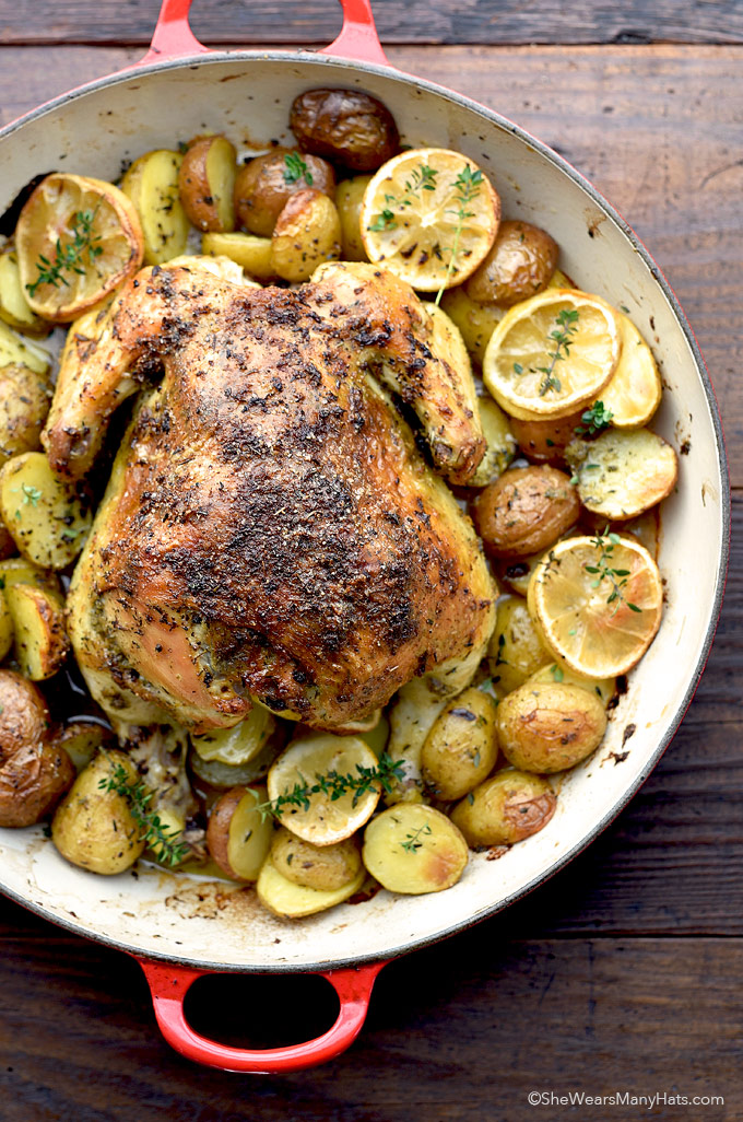 Roasted Garlic Lemon Chicken and Potatoes | She Wears Many ...