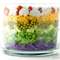 Easy Colorful Layered Salad Recipe | shewearsmanyhats.com