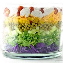 Easy Colorful Layered Salad Recipe | shewearsmanyhats.com