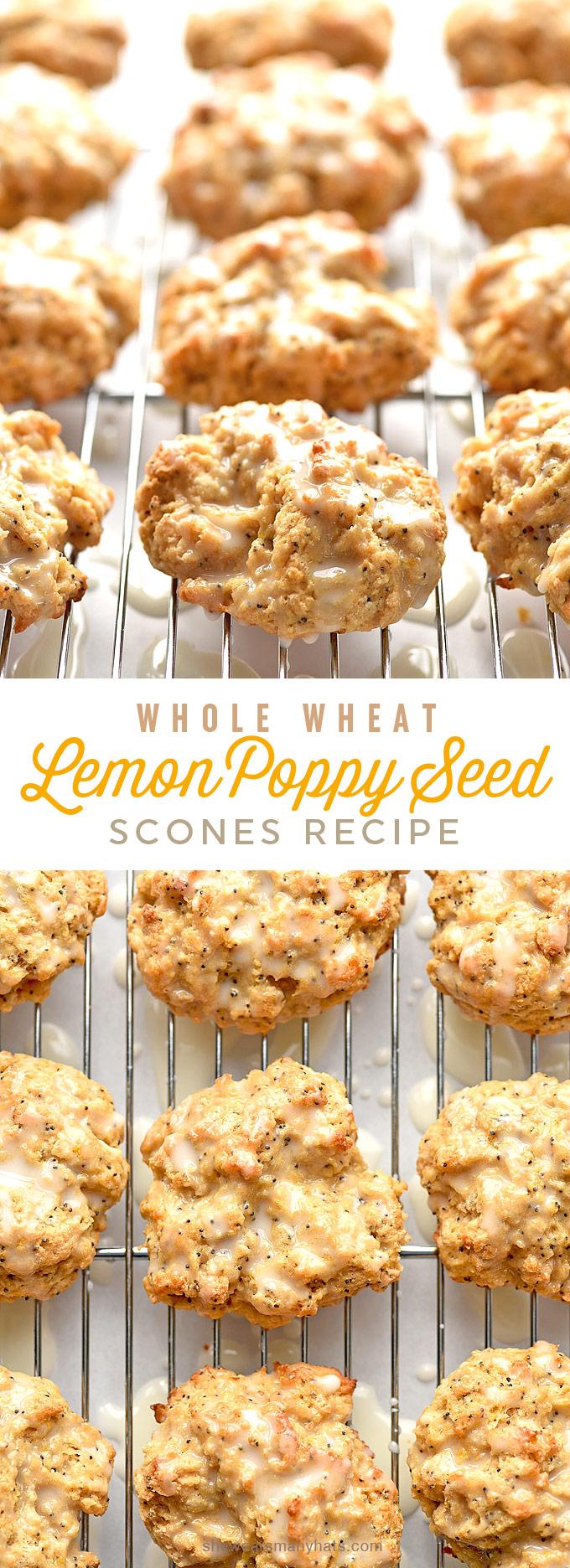Whole Wheat Lemon Poppyseed Scones Recipe with Lemon Glaze | shewearsmanyhats.com