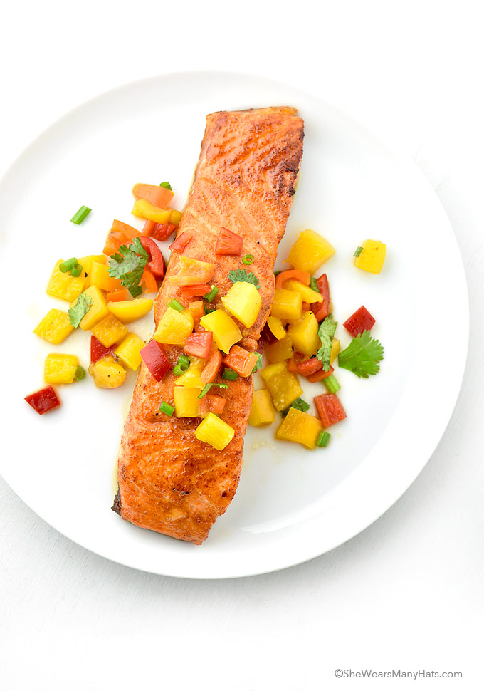 Sweet and Spicy Glazed Salmon Recipe | shewearsmanyhats.com
