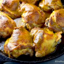 Honey Mustard Baked Chicken Thighs Recipe | shewearsmanyhats.com