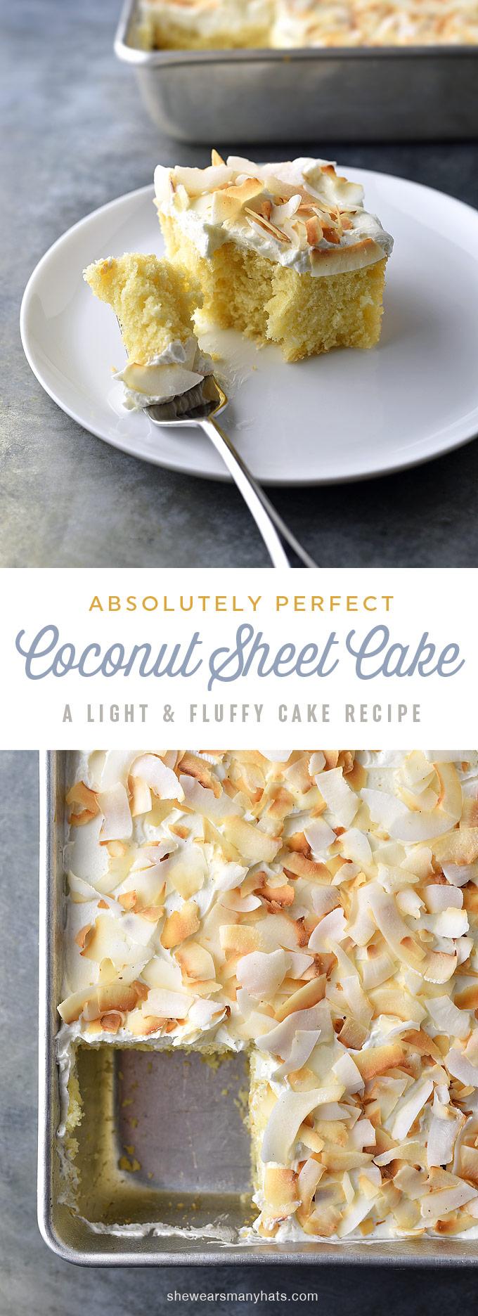 Perfect Coconut Sheet Cake Recipe | shewearsmanyhats.com