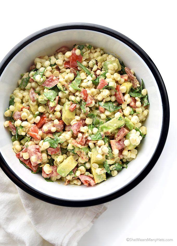 Tomato Stack Salad With Corn, Bacon, And Avocado Recipe — Dishmaps