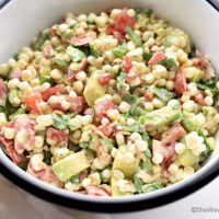 Avocado Bacon Tomato Spinach Corn Salad