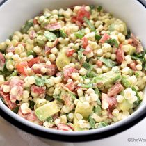 Avocado Bacon Tomato Spinach Corn Salad Recipe | shewearsmanyhats.com