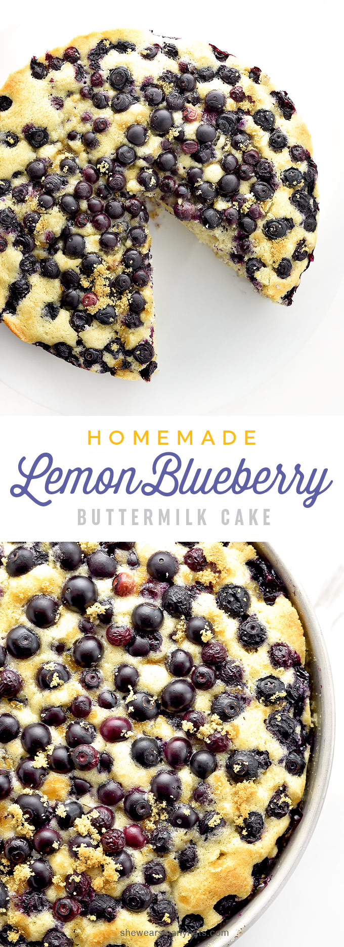 Homemade Lemon Blueberry Buttermilk Cake Recipe | shewearsmanyhats.com
