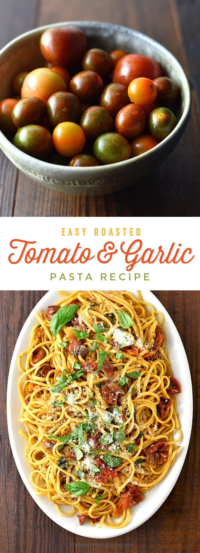 Easy Roasted Tomato Garlic Pasta Recipe | shewearsmanyhats.com