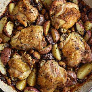 Classic Chicken with 40 Cloves of Garlic and Potatoes Recipe | shewearsmanyhats.com