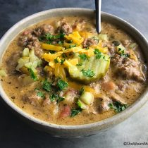 Homemade Cheeseburger Soup Recipe | shewearsmanyhats.com