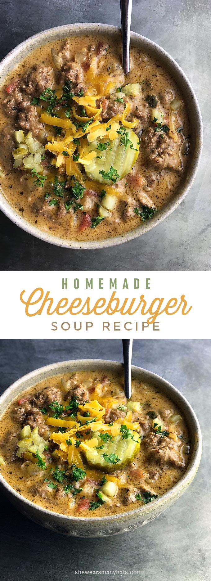 Easy Cheeseburger Soup Recipe | shewearsmanyhats.com