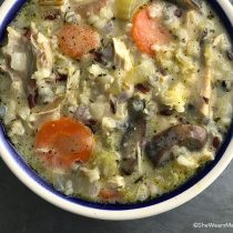 Easy Creamy Chicken Wild Rice Soup Recipe | shewearsmanyhats.com