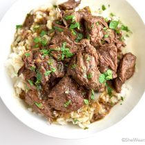 Easy Stew Beef and Rice Recipe | shewearsmanyhats.com