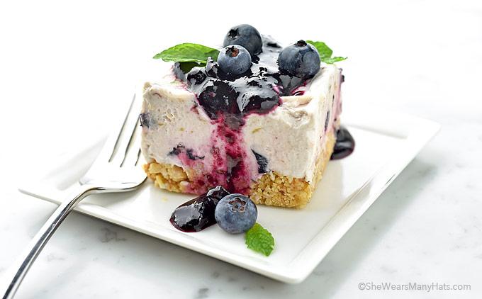 Frozen Blueberry Squares Recipe | shewearsmanyhats.com