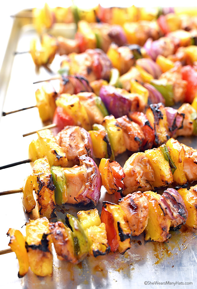 Hawaiian Chicken Kabobs Recipe She Wears Many Hats