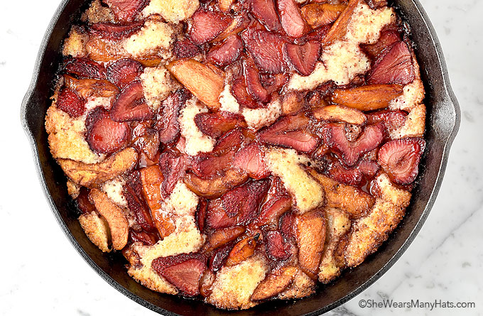 Easy Balsamic Roasted Fruit Cobbler Recipe | shewearsmanyhats.com
