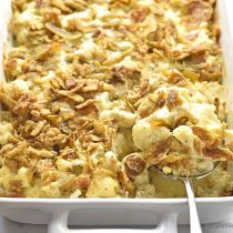Easy Cauliflower Cheese Casserole Recipe with Crispy Jalapeños | shewearsmanyhats.com
