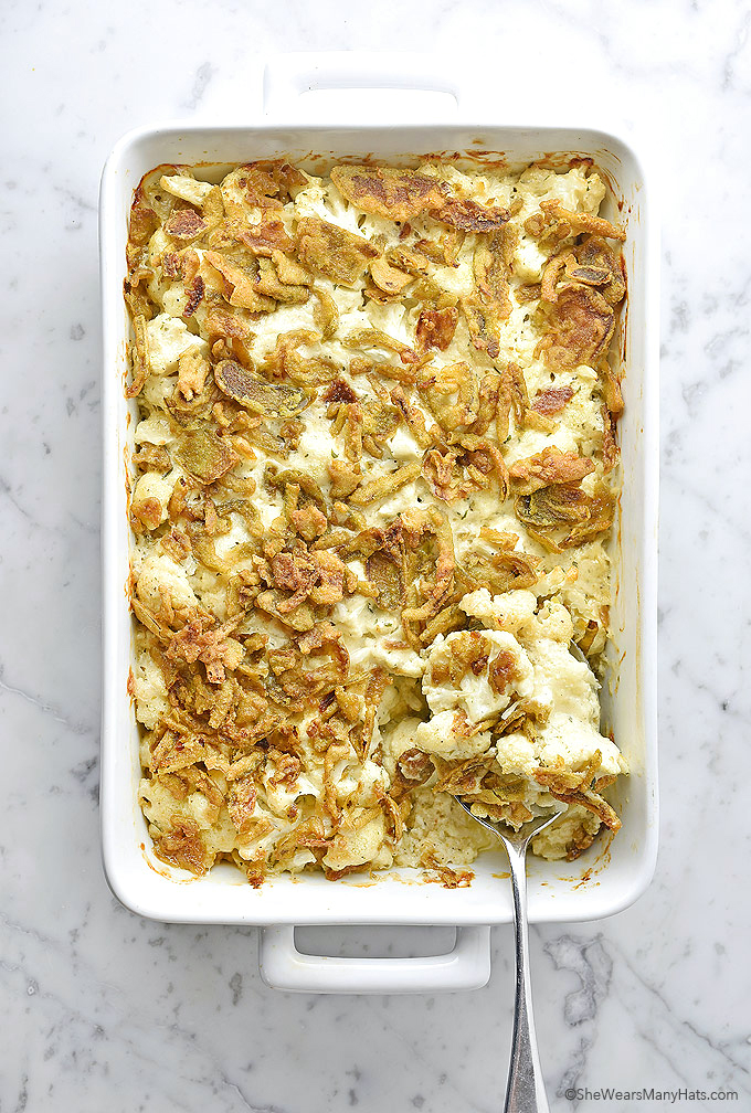 Easy Cauliflower Cheese Casserole Recipe with Crispy Jalapeños   shewearsmanyhats.com