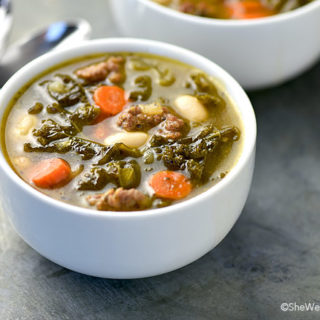 Kale, Sausage and White Bean Soup Recipe | shewearsmanyhats.com