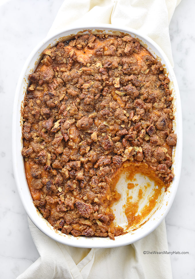 Sweet Potato Casserole Recipe with Pecan Topping | shewearsmanyhats.com