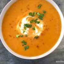 Creamy Sweet Potato Soup Recipe | shewearsmanyhats.com