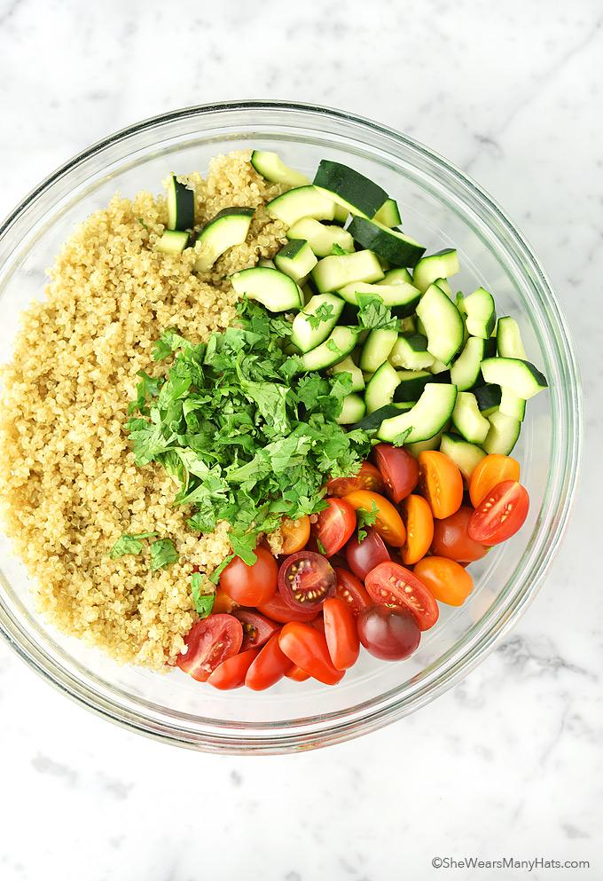Cucumber and Tomato Quinoa Salad Recipe | shewearsmanyhats.com