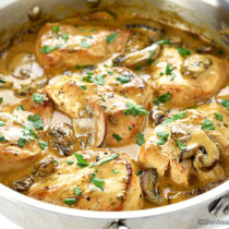 Chicken Breasts with Mushroom Cream Sauce Recipe | shewearsmanyhats.com