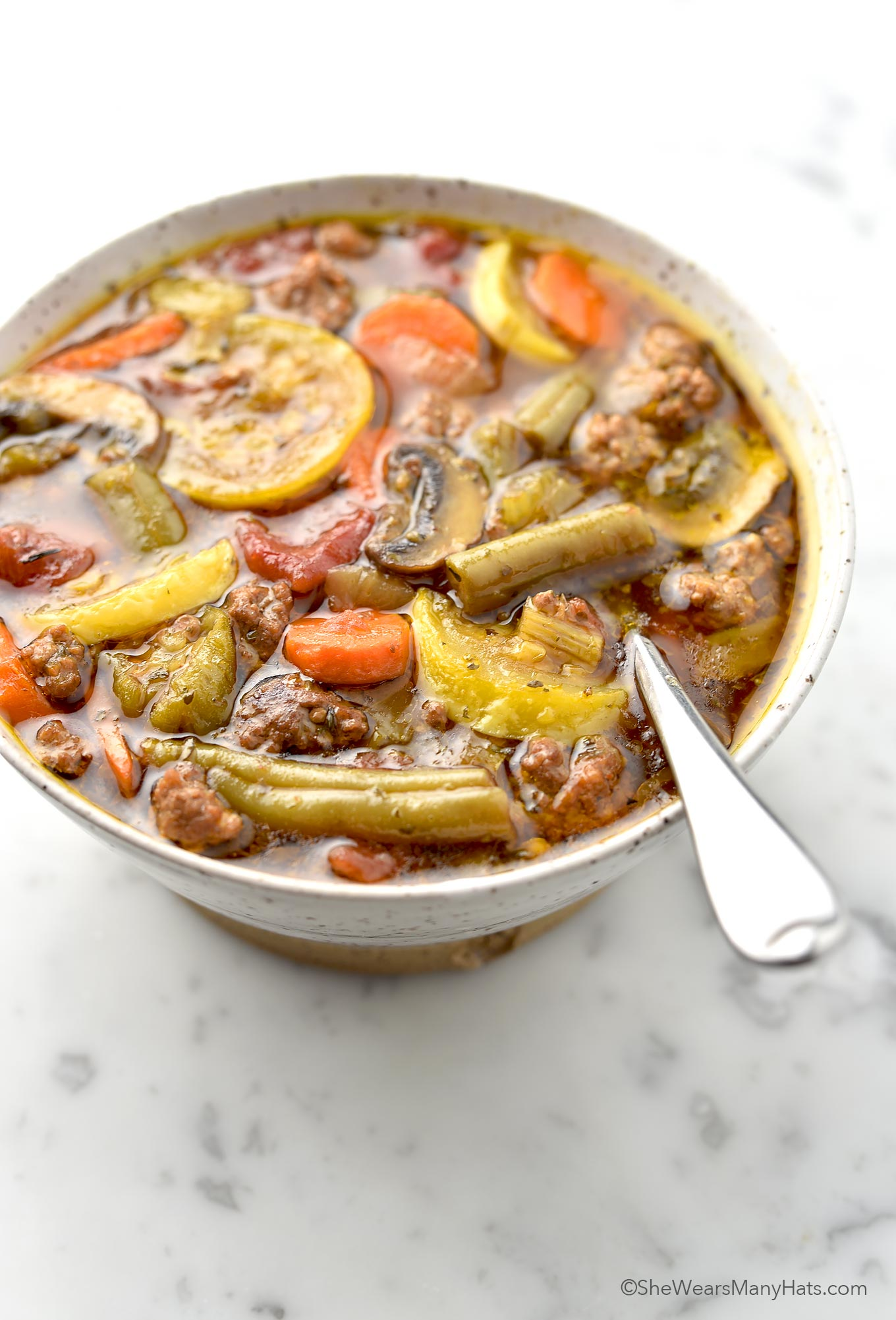Vegetable Beef Soup Recipe | shewearsmanyhats.com